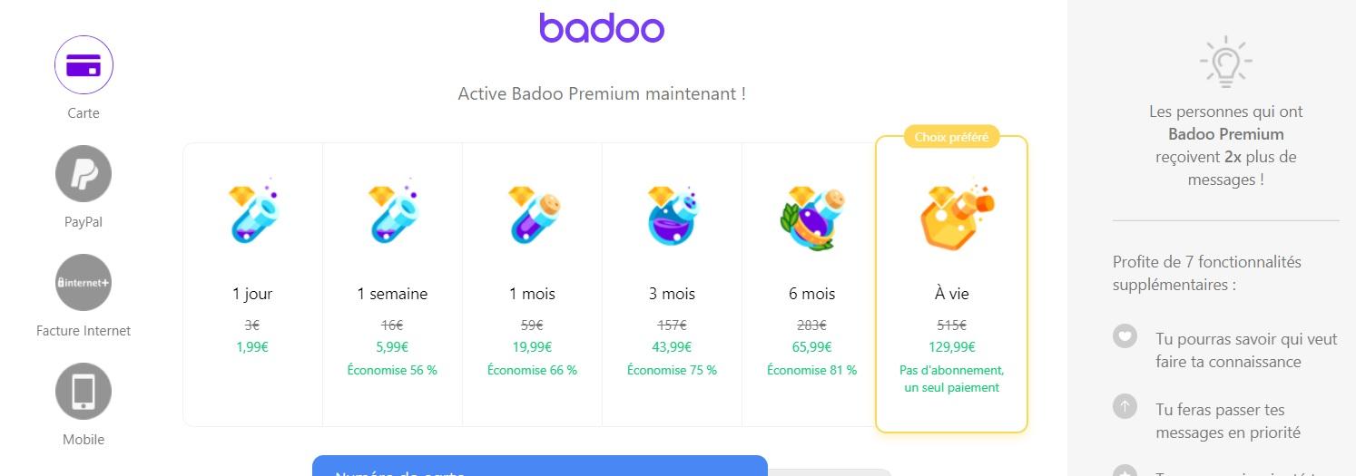 L'abonnement à Badoo Premium