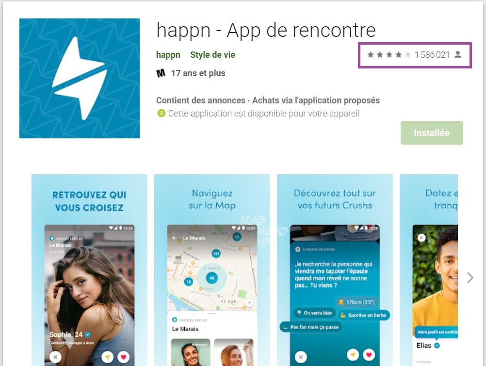 Happn : Avis des utilisateurs sur Google Play